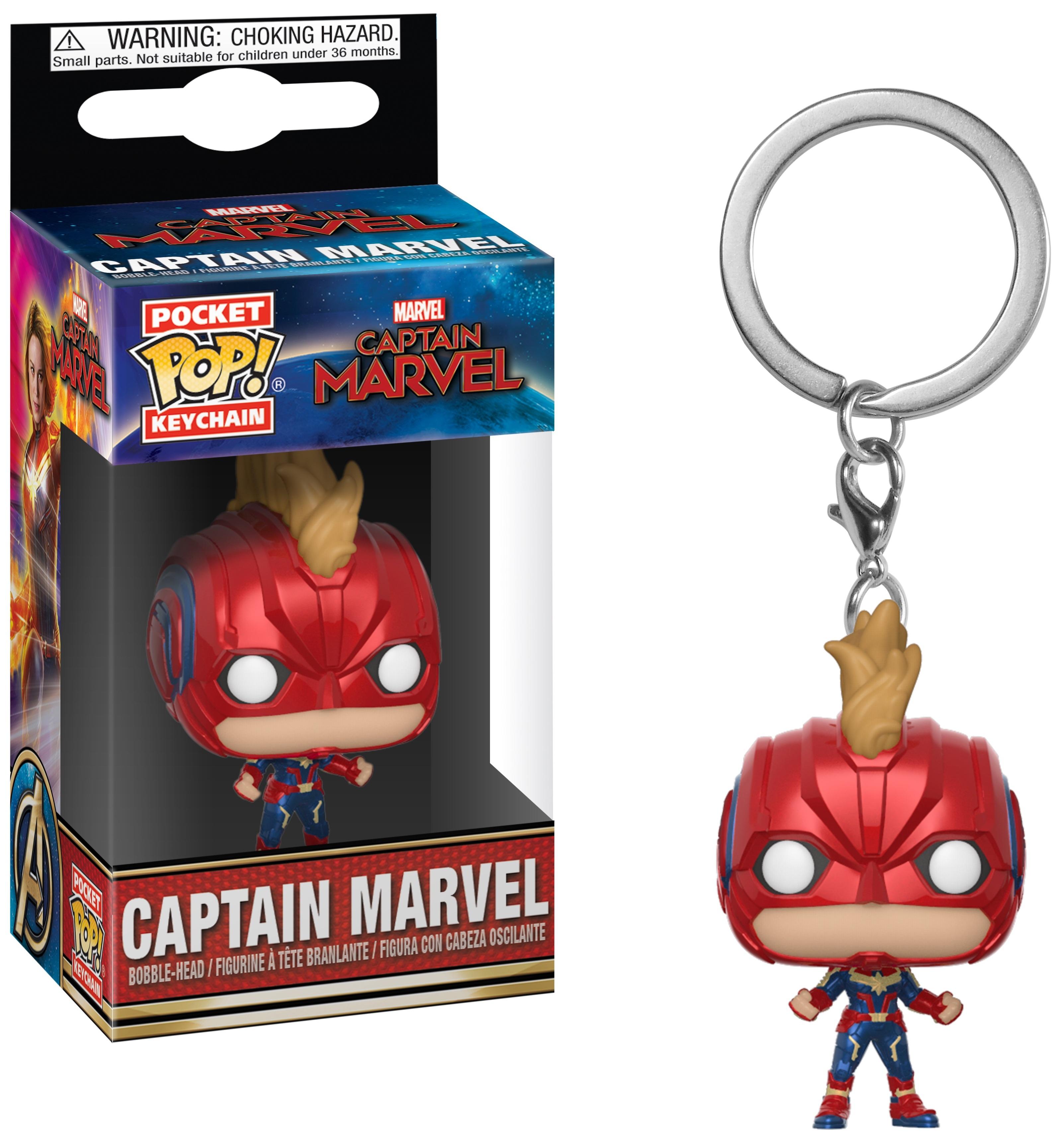 Купить Брелок Captain Marvel - Pocket POP! - Captain Marvel (with Helmet) (4 см), Funko, Аксессуары для ранцев и рюкзаков