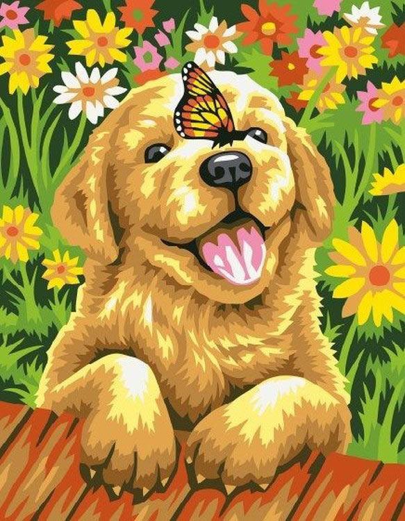 Собачка с цветами картинки для детей, для поздравления