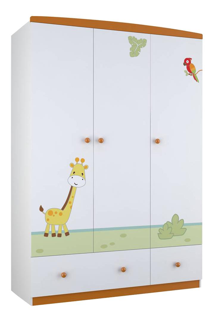 Купить Шкаф детский Polini Basic Джунгли белый-оранжевый, Шкафы в детскую комнату
