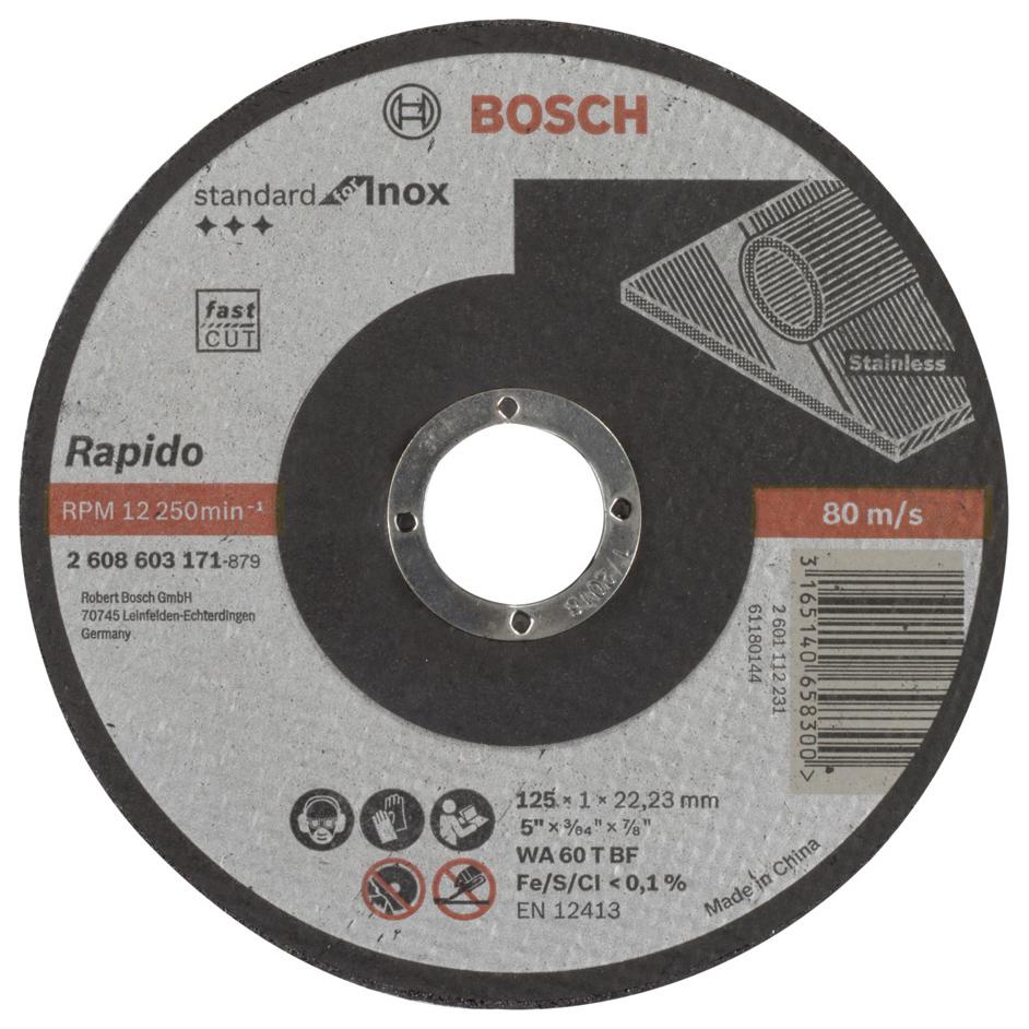Отрезной круг Bosch Standard по нерж 125х1 прям 2608603171