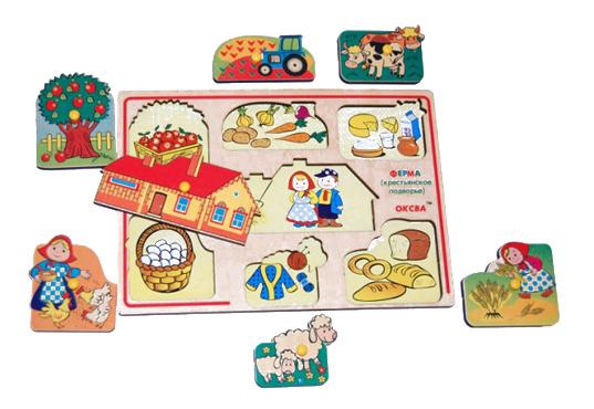 картинка Деревянная игрушка для малышей Оксва Ферма - крестьянское подворье от магазина Bebikam.ru