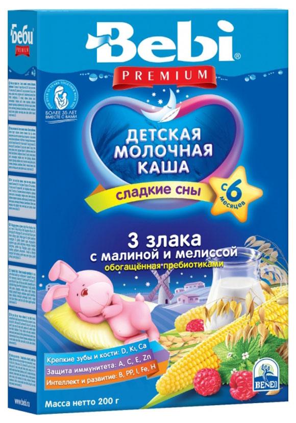 Купить 3 злака с малиной и мелиссой 200 г, Молочная каша Bebi Сладкие сны 3 злака с малиной и мелиссой с 6 мес 200 г, Детские каши
