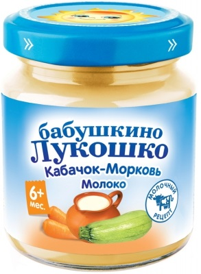 Пюре овощное Бабушкино Лукошко Кабачок морковь молоко