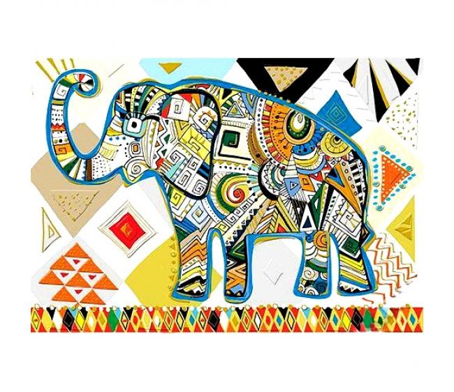 Открытка со слонами с днем рождения, днем рождения открытки