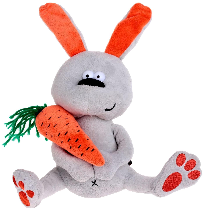 Купить Заяц и Morkovka, Мягкая игрушка Fluffy Family Заяц & Morkovka, 22 см, Мягкие игрушки животные