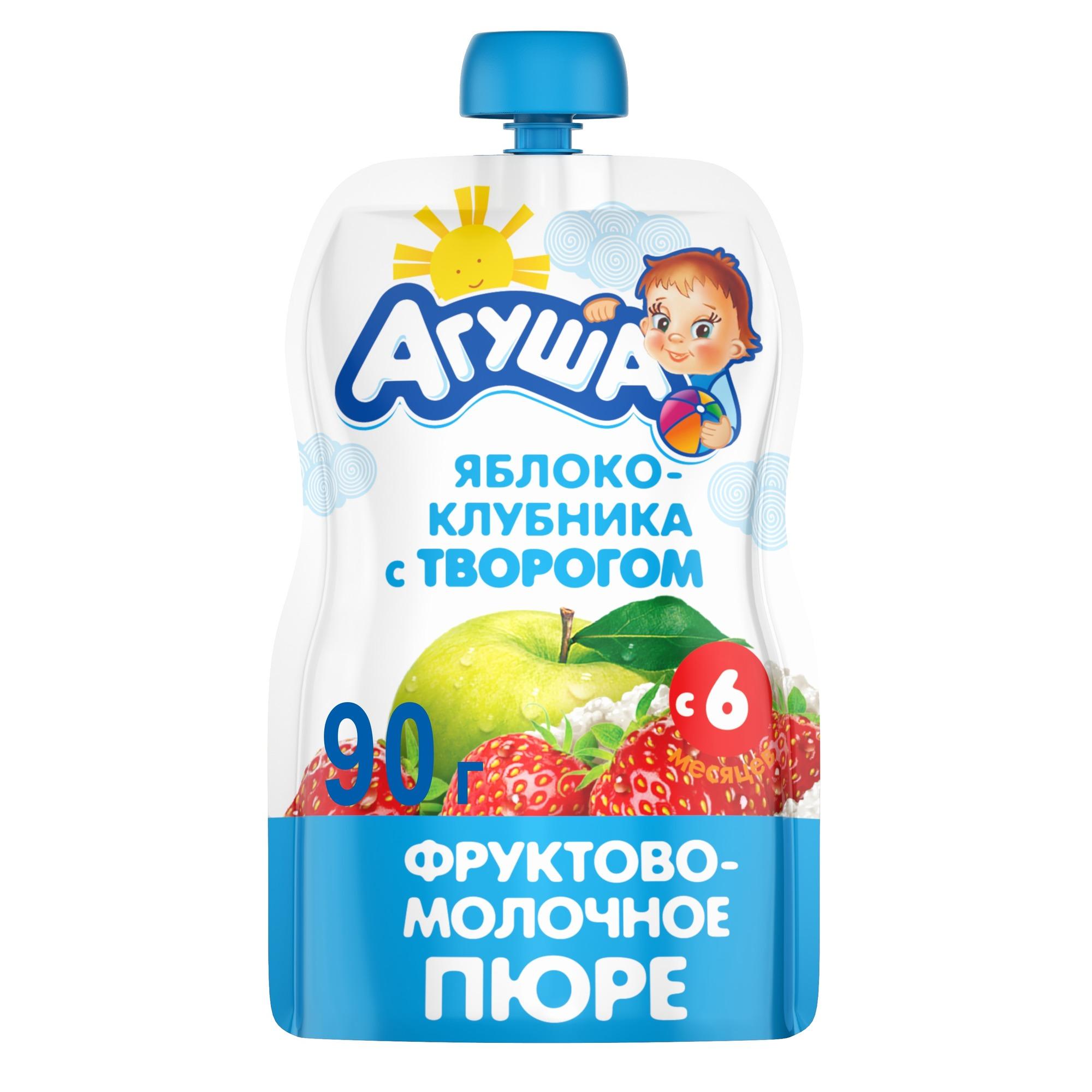 Пюре фруктовое Агуша Яблоко-клубника с творогом с 6 мес 90 г