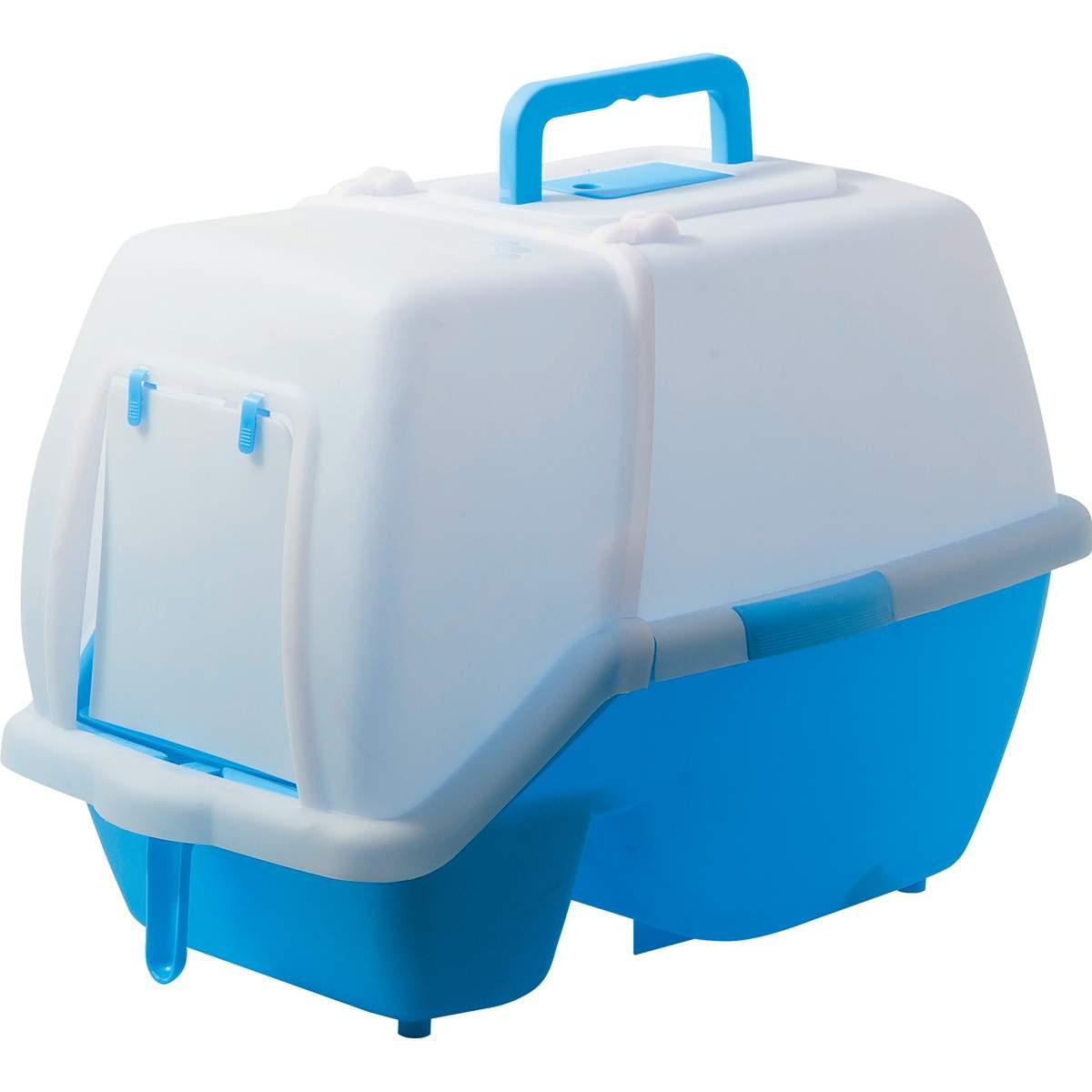 Туалет для кошек ZooOne, прямоугольный, синий, 60х42х45