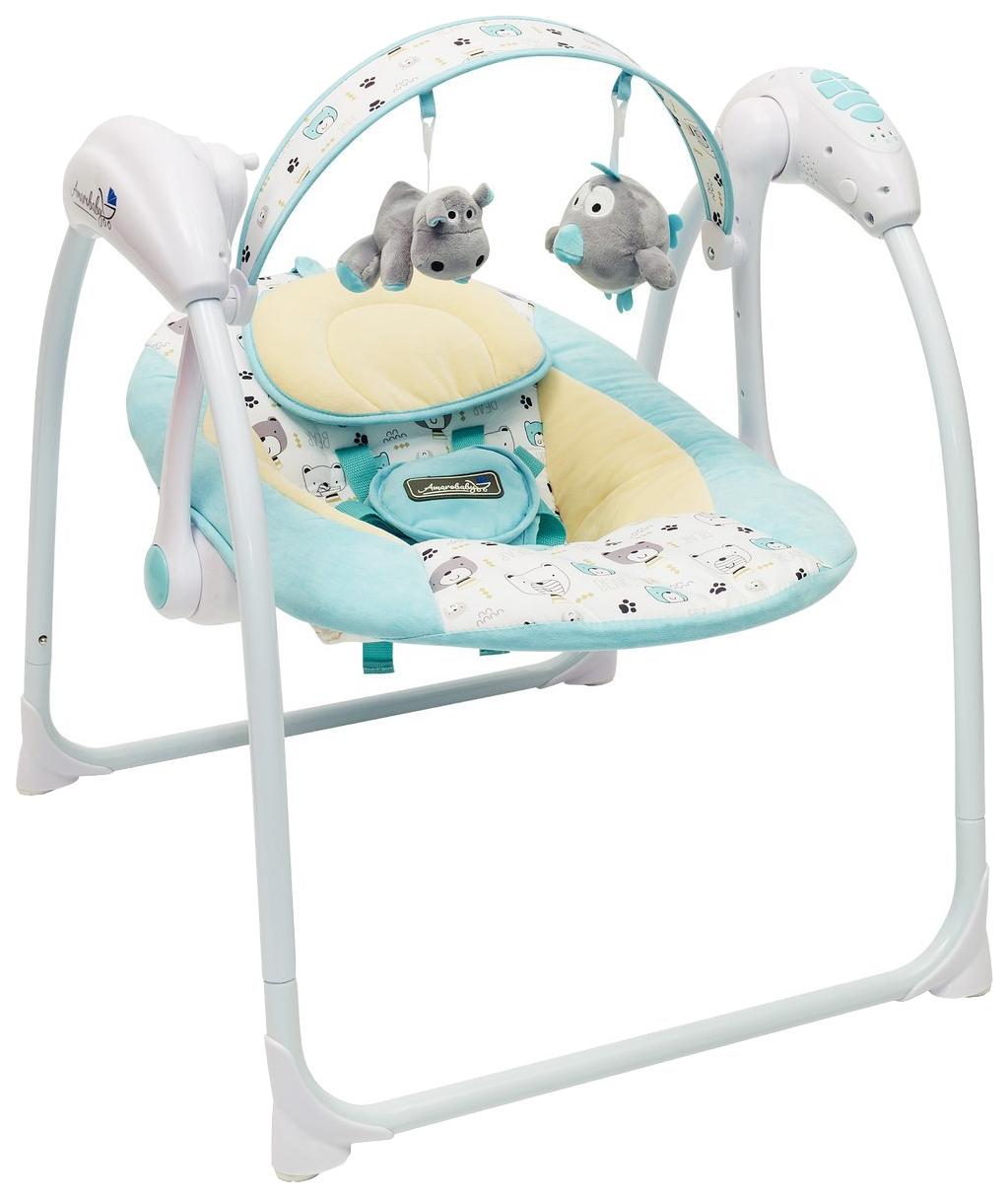 Электронные качели детские AMAROBABY Swinging Baby TURQUOISE