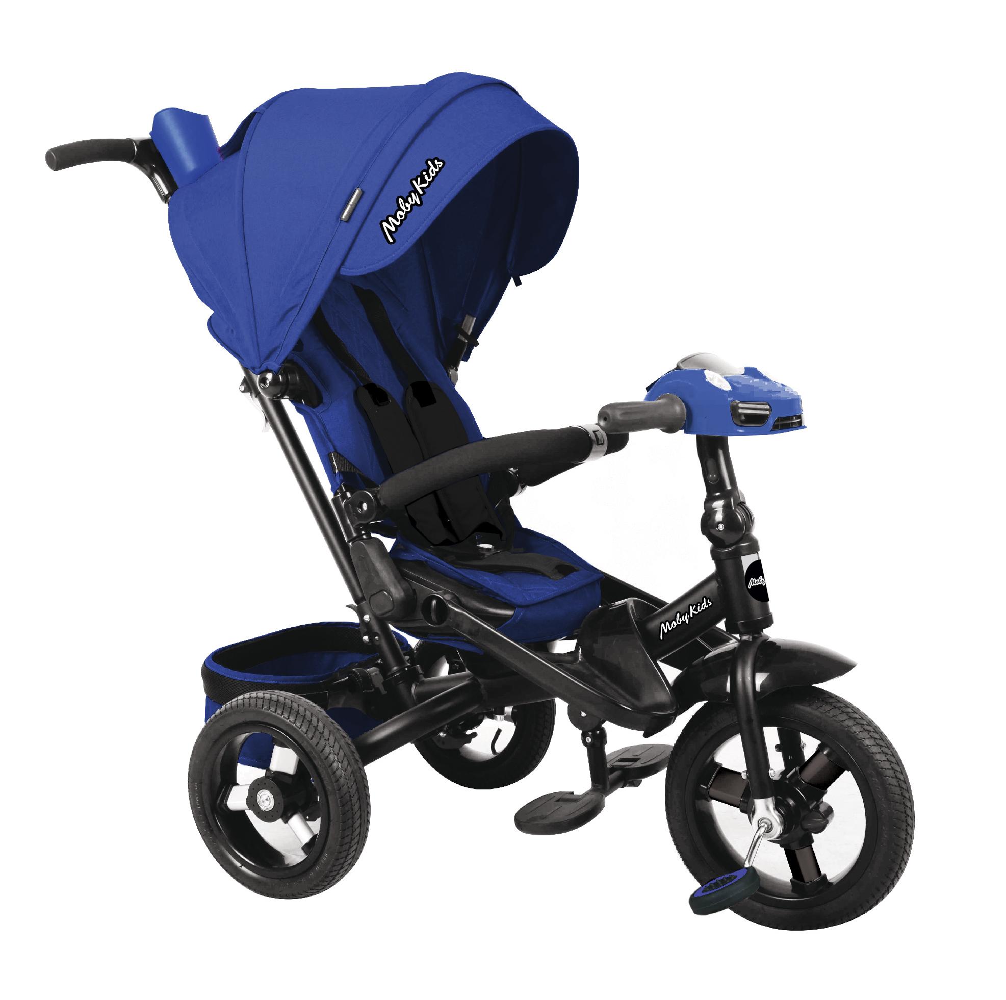 Купить Велосипед трехколесный Moby Kids Leader 360°. AIR Car с разворотным сиденьем синий 641211,
