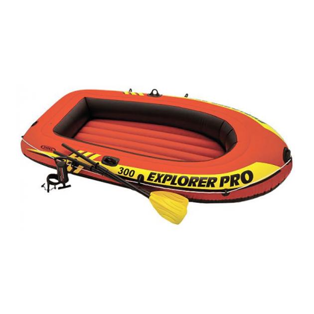 Надувная лодка Intex Explorer Pro 300 с веслами и насосом красная