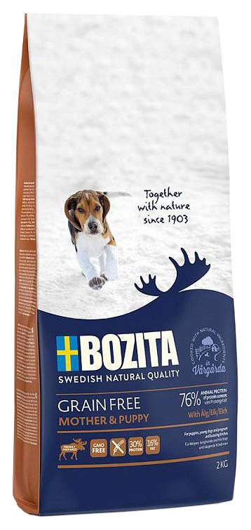 Сухой корм для щенков BOZITA Grain Free Mother & Puppy ELK, беззерновой, лось, 2кг