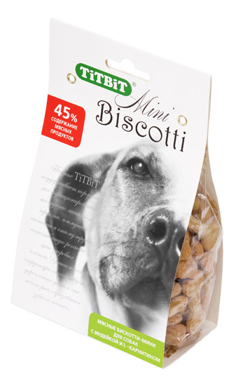Лакомство для собак TiTBiT, печенье Бискотти мини с индейкой и L-карнитином, 200г