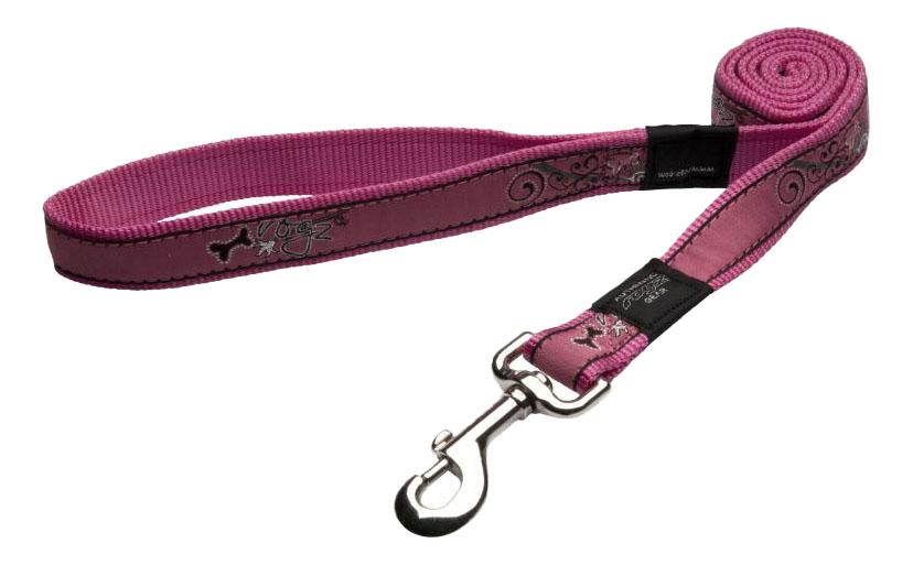 Поводок для собак Rogz Fancy Dress XL-25мм 1,2 м (Кость на розовом HL02BN)