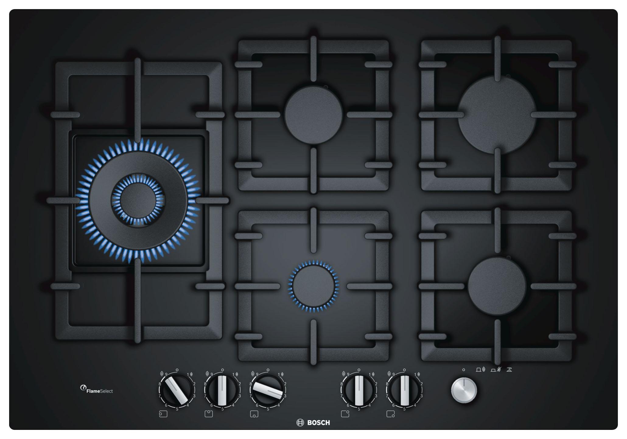 Встраиваемая варочная панель газовая Bosch PPS7A6M90R Black