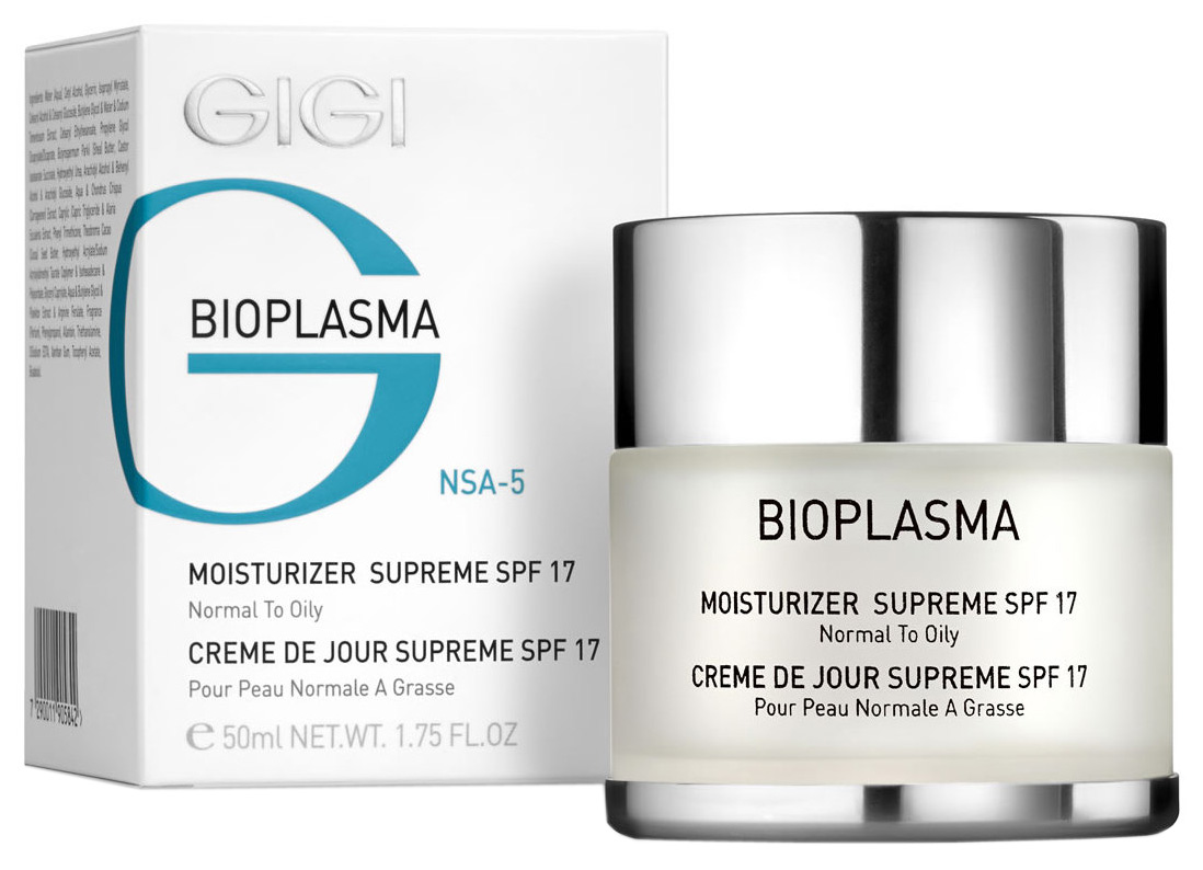 Крем для лица GIGI Bioplasma Увлажняющий для нормальной и жирной кожи с SPF 17 50 мл фото