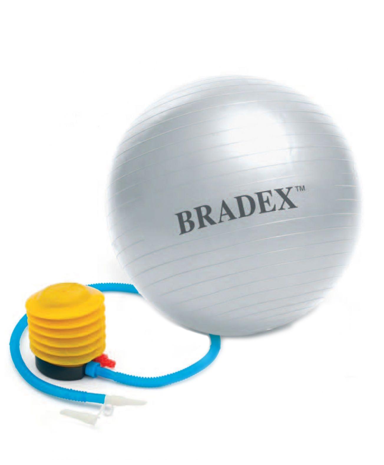 Мяч гимнастический Bradex Фитбол-55 с насосом, серый, 55 см фото