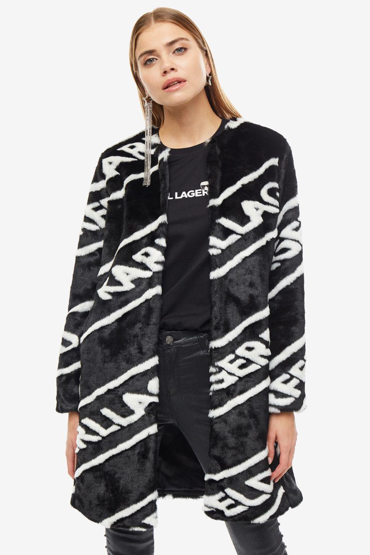 Шуба женская Karl Lagerfeld черная фото