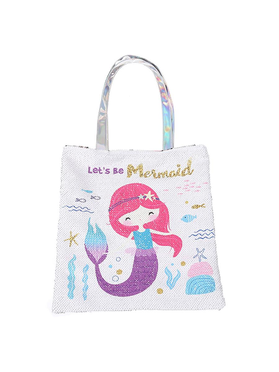 Сумка на плечо с пайетками Русалка Lets be Mermaid белая