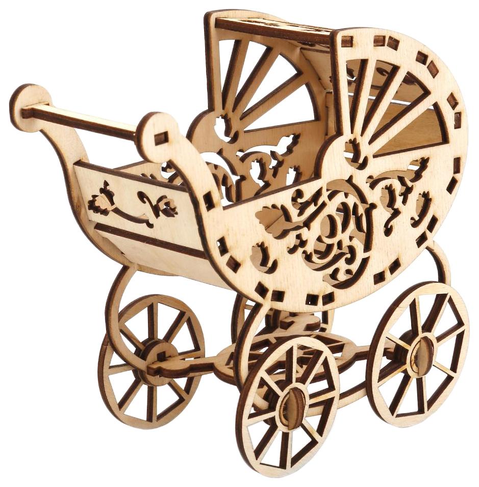 Купить Сборная деревянная модель Коляска для ребенка Барби Теремок, Модели для сборки