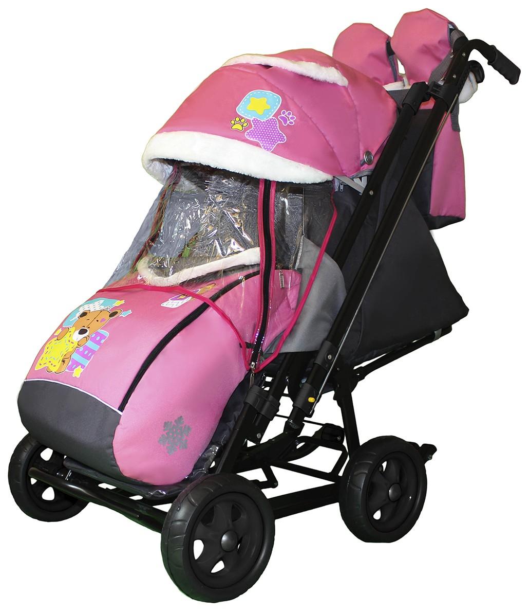 Санки-коляска SNOW GALAXY City-2-1 Мишка со звездой на розовом с надувными колесами