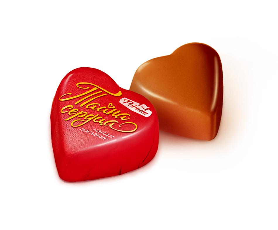 Конфеты шоколадные Победа Вкуса в форме сердечка с ореховым кремом 500 г фото