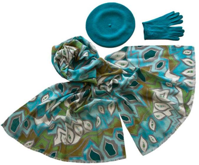 Комплект (берет, палантин, перчатки) Tonak/Tranini 45058 голубой фото