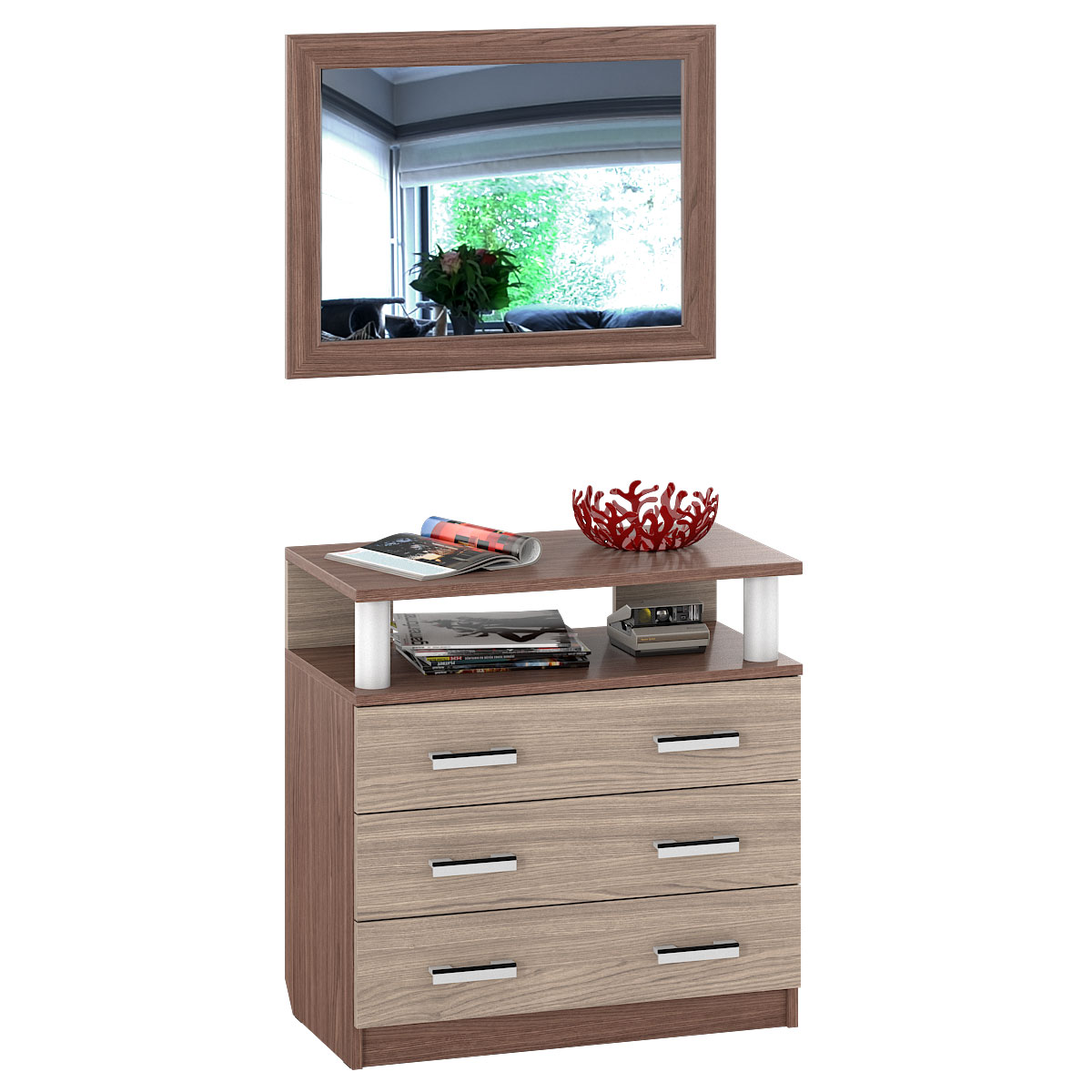 Комод с зеркалом Мебельный Двор К-16 80х43х180 см, ясень шимо темный