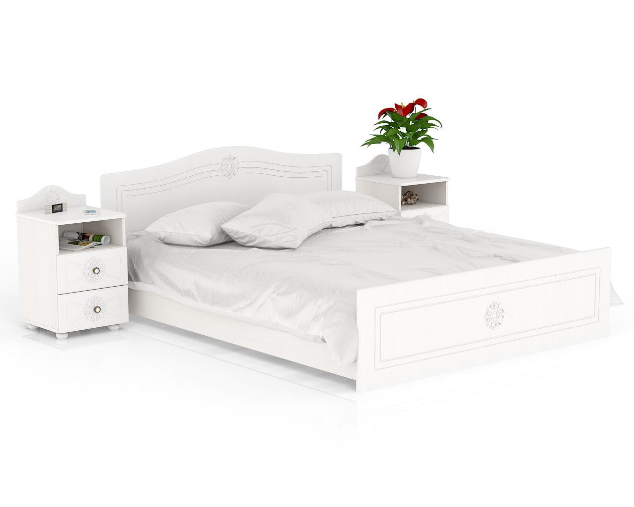 Кровать с тумбами прикроватными Мебельный Двор Онега ТП-2+КР-1600+ТП-2 белый 259х204х84