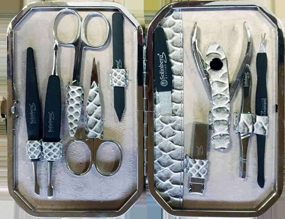 Купить Маникюрный набор Solinberg Comfort Line FR-0381, 9 предметов, Solinberg 'Comfort Line' FR-0381, 9 предметов (серебро), футляр-кожа, арт. 140-0381