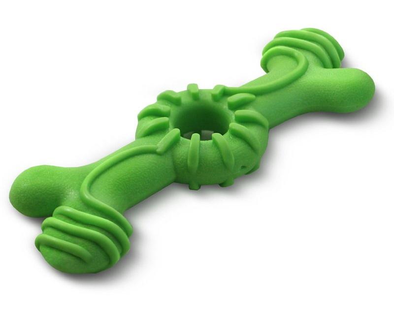 Жевательная игрушка для собак Triol Aroma Кость из резины, зеленая, 18 см
