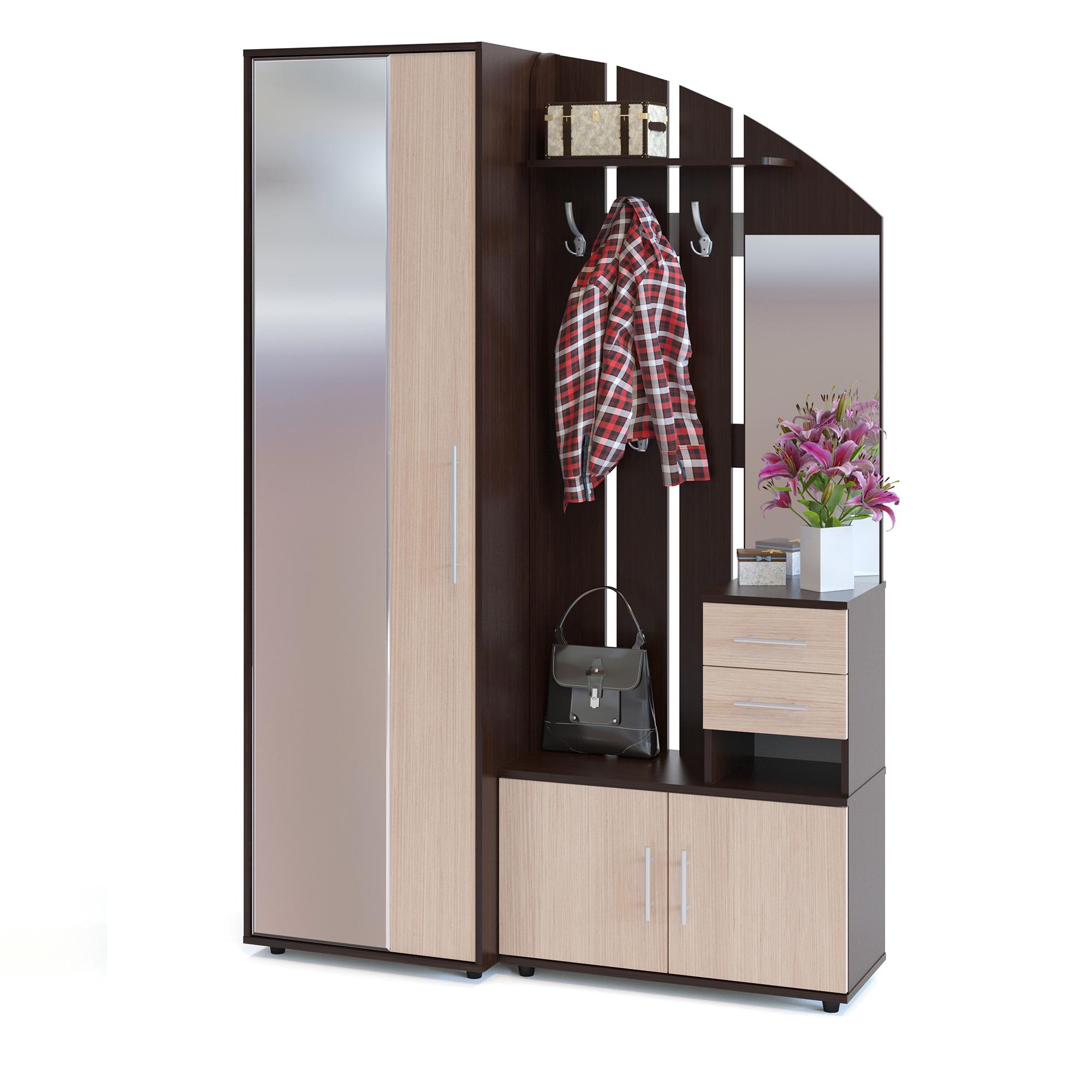 Шкаф платяной с вешалкой Сокол ШО-2+ВШ-1 дуб венге/белёный дуб, 140х43х209 см