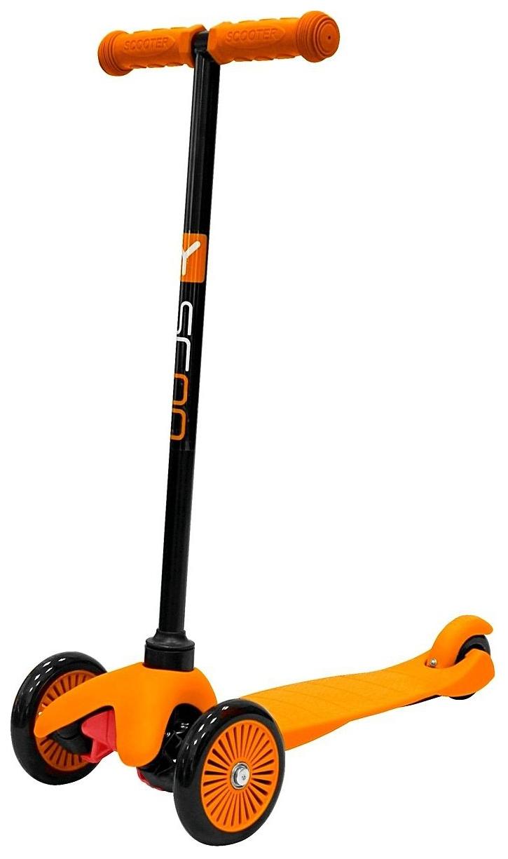 Купить Самокат трехколесный Y-Scoo mini A-5 Simple orange с цветными колесами, Самокаты детские трехколесные