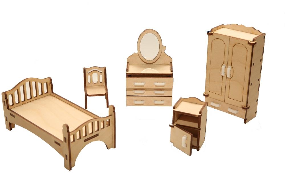 Мебель для кукольного домика ХэппиДом Спальня из дерева фото
