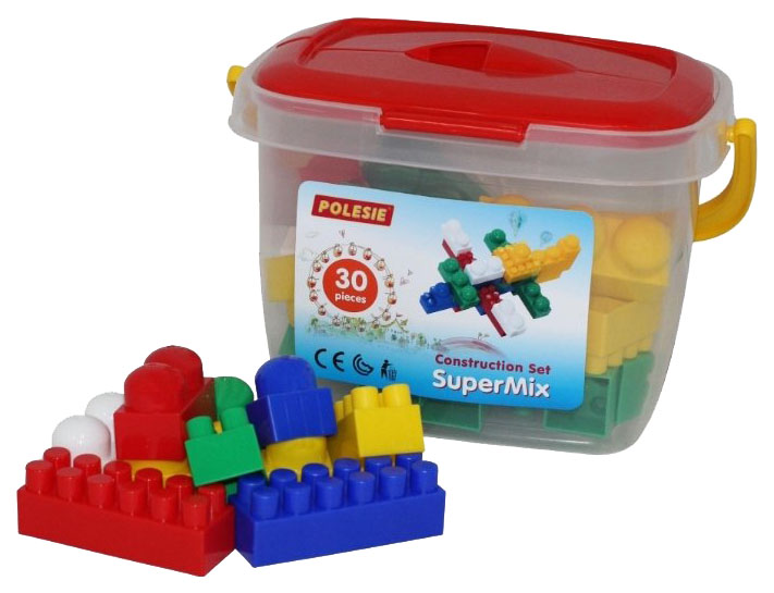 Купить Игрушки, Конструктор пластиковый Полесье Супер-Микс 30 элем в ведёрке, Конструкторы пластмассовые