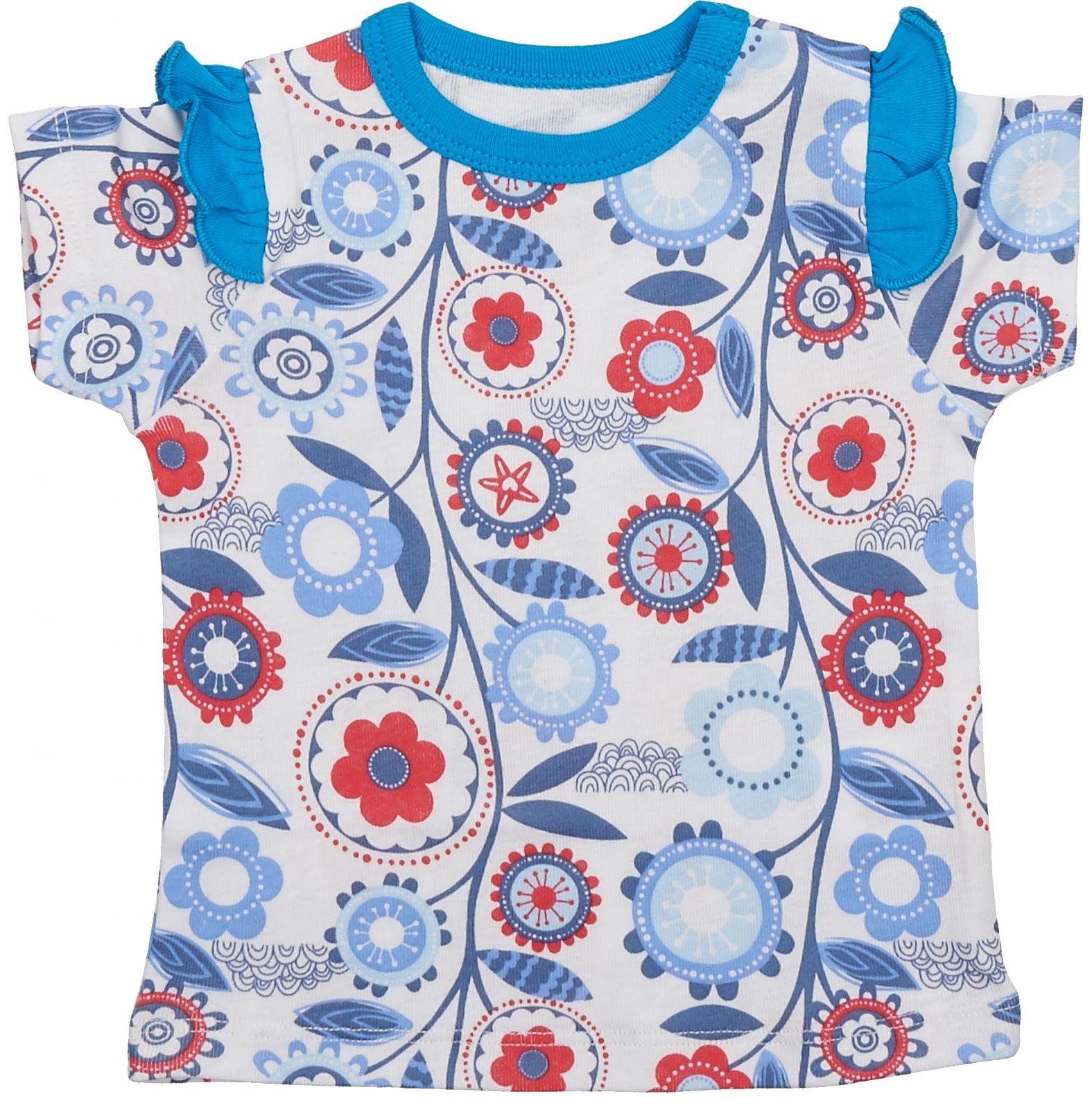 Купить Футболка Viva Baby для девочки синий р.68, Детские футболки, топы