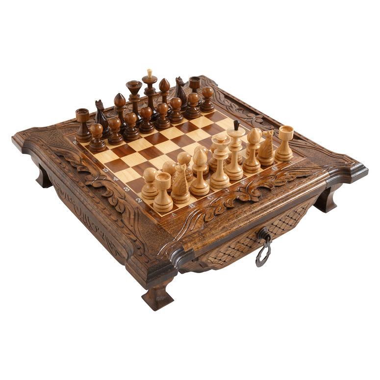 Купить Шахматы резные Haleyan в ларце, с ящиками 50,