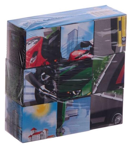 Кубики пластиковые Рыжий кот Транспорт 9 штук К09-8153