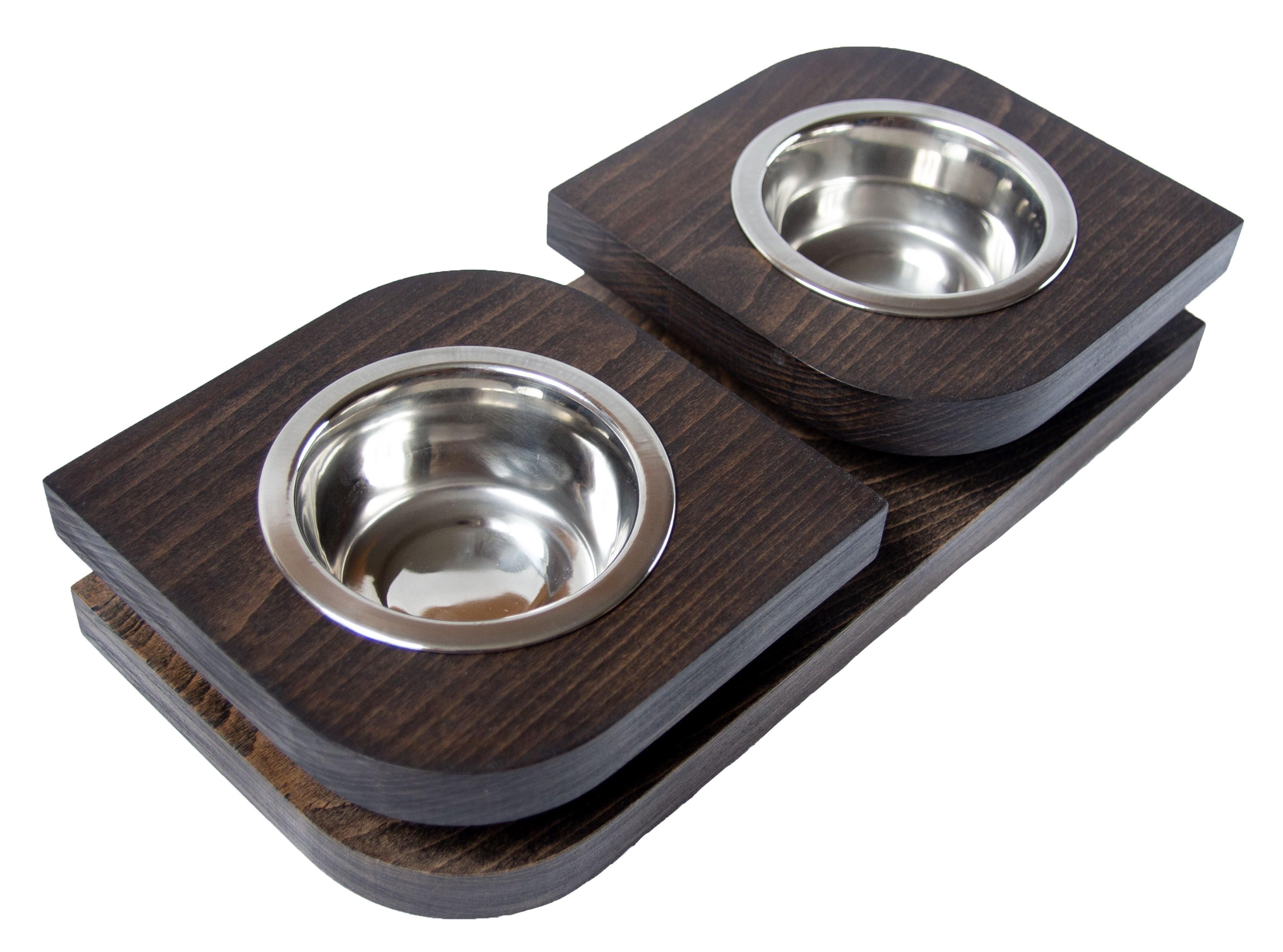 Двойная миска на подставке из бука BEDFOR Bloom XS для кошек и маленьких собак, чер