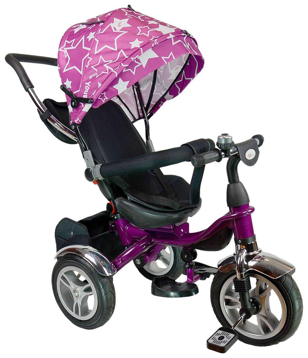 Купить Велосипед трехколесный Farfello TSTX6688-4 фиолетовый со звездами, Детские велосипеды-коляски
