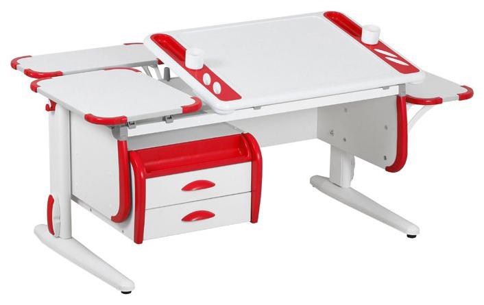Парта Дэми Techno СУТ 31-05 с тумбой, задней и боковой приставкой 04952-3 Белый/Красный