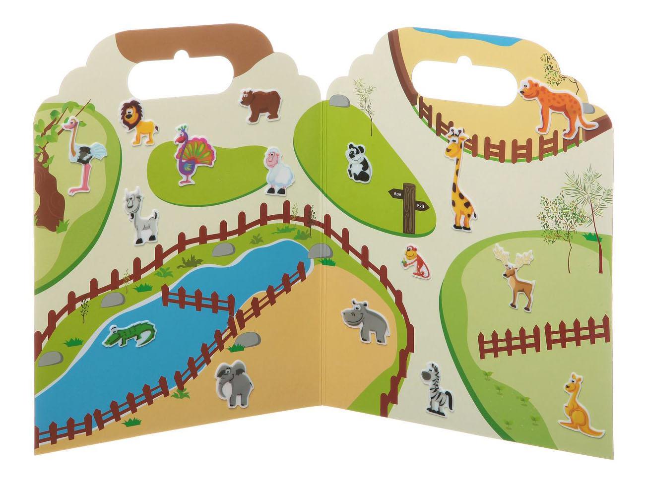 Купить Набор наклеек Нано-стикер В Зоопарке бол., 19x24 см., арт. TP-S30, Набор наклеек нано-стикер в зоопарке бол., Bondibon 19x24 см, Аксессуары для детской комнаты