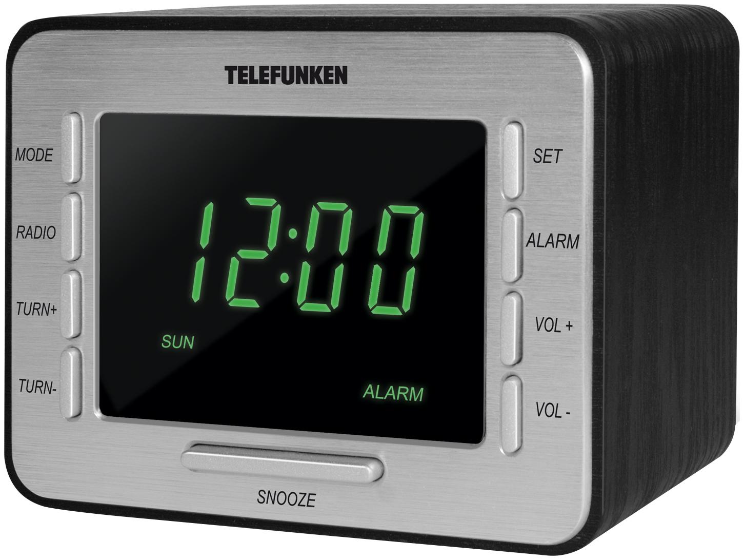 Радио-часы TELEFUNKEN TF-1508 Черный зеленая подсветка