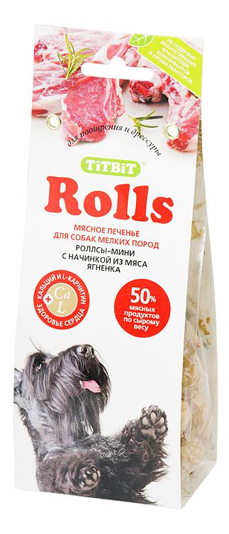 Лакомство для собак TiTBiT, печенье Rolls мини с начинкой из мяса ягненка, 100г