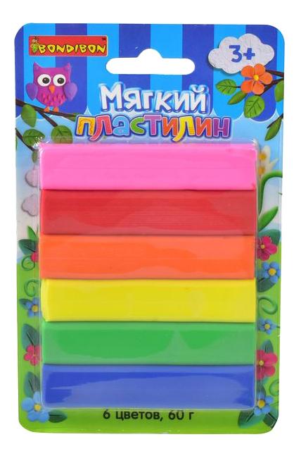 Купить Пластилин 6 цветов, Набор для лепки из пластилина Bondibon Пластилин 6 цветов,