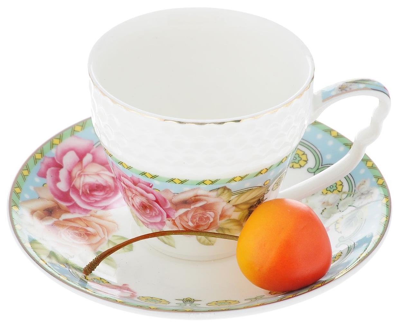 Кофейный сервиз Loraine Розы 25789 Белый, зеленый