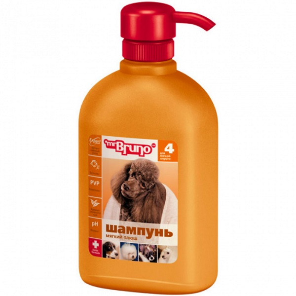 Шампунь-бальзам для собак Mr.Bruno №4 Мягкий плюш, для мягкой шерсти, 350 мл