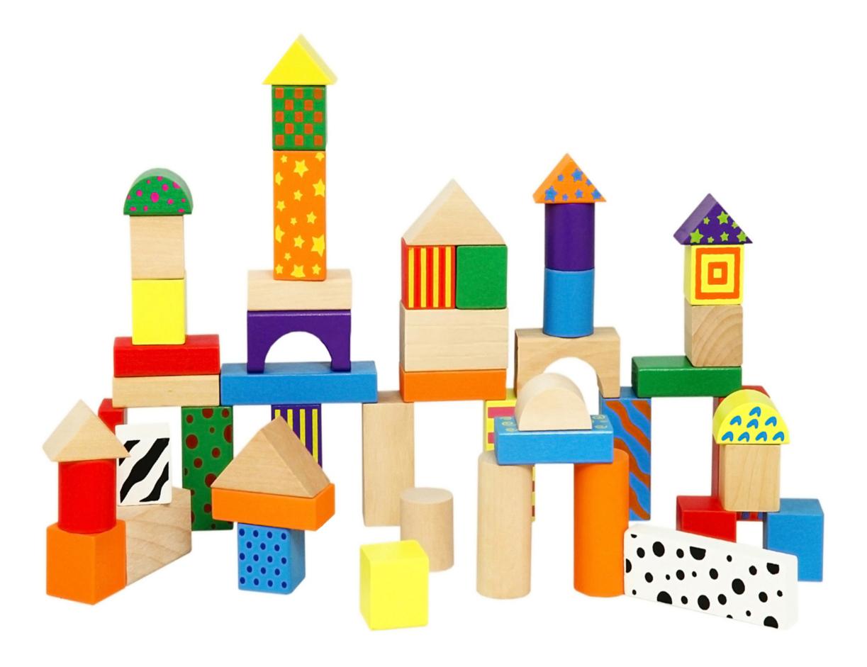 Купить Строительные блоки, Конструктор деревянный Viga Разноцветный, Деревянные конструкторы
