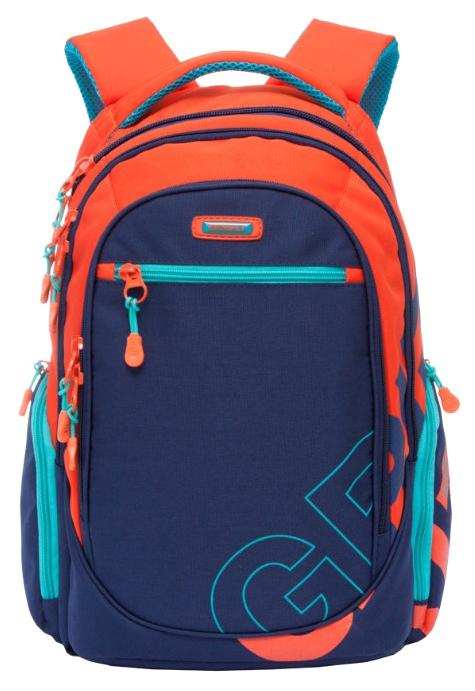 Купить Рюкзак городской Grizzly RU-711-2/1 Темно-синий/Оранжевый, Школьные рюкзаки и ранцы