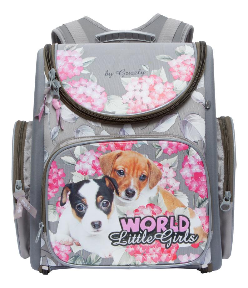 Рюкзак детский Grizzly RA-771-4 школьный серый ранец RA-771-4/1 серый