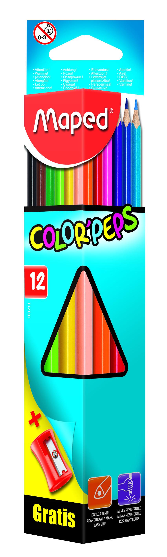 Купить -, Карандаши цветные COLOR'PEPS треугольные 12 цветов+точилка MAPED